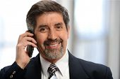 Mature businessman on the cell phone inside his office