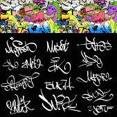 Graffiti font tags urban illustration set. Hip hop art design