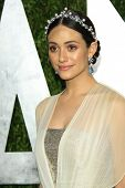 WEST HOLLYWOOD, CA - FEB 24: Emmy Rossum at the Vanity Fair Oscar Party at Sunset Tower on February