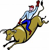 picture of bull-riding  - cowboy bull riding isolated white background cartoon - JPG