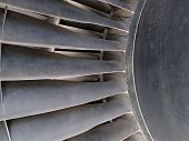 Close Up Of Turbine And Blades Of A Jet Engine