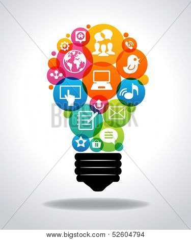 Modern infographic template. Colorful social media icons form the shape of the light bulb. File is s poster