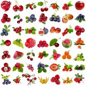 Large Collection set of fresh ripe fruits and berries close up sign  objects isolated on white backg