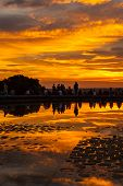 People Admiring The Sunset In Temple Of Debod Park, Madrid