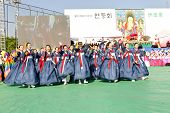 SEOUL KOREA MAY 11: Actresses are performing at Buddhist Cheer Rally for celebration of Lotus Lanter