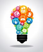 Modern infographic template. Colorful social media icons form the shape of the light bulb. File is s