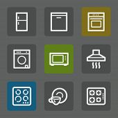 Home appliances web icons, flat buttons