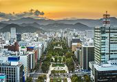 Cityscape of Sapporo, Japan at odori Park.