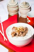 image of shabu  - pan fried beef sukiyaki with onion on rice - JPG