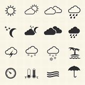 stock photo of rain cloud  - Weather Icons with texture background - JPG