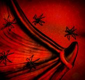 Spiders on red Halloween background, collar of Dracula, spiderweb texture, scary postcard, festive b