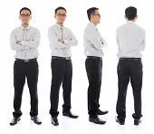 Full body arms folded Asian businessman in different angle, front, side and rear view. Standing isol