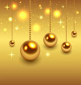 Christmas background gold, vector illustration