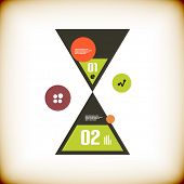 Modern sand clock infographics options banner. Vector illustration can be used for workflow layout, diagram, web design