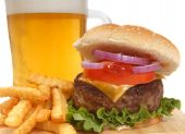 Cheeseburger With French Fries And Beer
