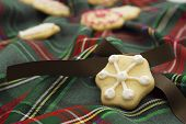 Christmas Cookies On Green Tartan