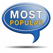 most popular sign popularity label or icon for bestseller or market leader and top product or rating in the charts