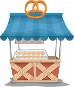 Illustration of a Food Cart Selling Pretzels