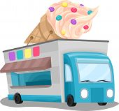 stock photo of ice-cream truck  - Illustration of an Ice Cream Truck with a Huge Ice Cream Installation on Top - JPG