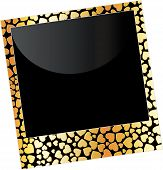 Love frame with gold hearts