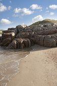 Rock Formation On A Coastal Beach