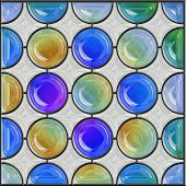 Stained Glass Window Panel With Circular Sections