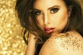 foto of hair motion  - Magic Girl Portrait in Gold - JPG