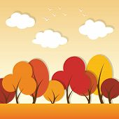 vector autumn paper applique landscape