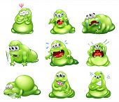 Illustration of the nine green monsters engaging in different activities on a white background
