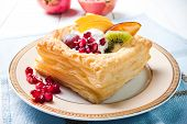 Delicious Puff Pastry With Cream And Fruits