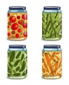 Bright Canned Pickled Vegetables Collection