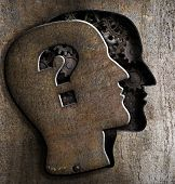 foto of heavy  - Human brain open with question mark on metal lid - JPG