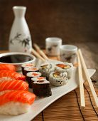 Fresh Sushi And Rolls On The Plate