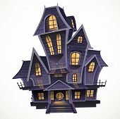 Happy Halloween cozy haunted house isolatd on a white background