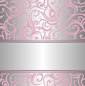 pink & silver invitation vintage design