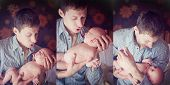 Triptych Of Photos Father With Son