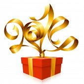 Vector golden ribbon in the shape of 2014 and gift box. Symbol of New Year