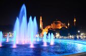 Fountain at night in front Hagia Sophia in Istanbul