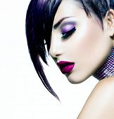 Halloween Woman Make up. Fashion Beauty Vampire Girl. Gorgeous Woman Portrait. Stylish Fringe Haircu