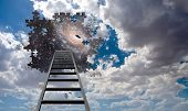 stock photo of stairway to heaven  - Puzzle Piece Hole in Sky - JPG