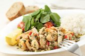 foto of rice  - healthy dish of fried chicken and shrimps with watercress and white rice - JPG
