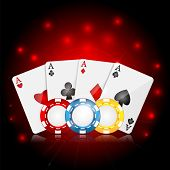 Playing Cards And Poker Chips On A Red Sparkling  Background.casino Background.vector