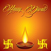 pic of swastik  - Illustration of diwali greeting with diya and swastik - JPG