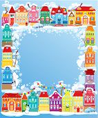 Frame With Decorative Colorful Houses. Christmas And New Year Holidays Card With Small Fairy Town.