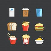 stock photo of flat-bread  - Traditional color flat food icons collection - JPG