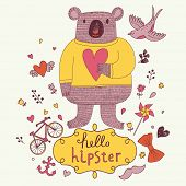 Funny Koala bear in sweater with heart in hands. Cute vector card hipster concept set with animal, bird, mustache, anchor, bicycle, bow and flowers