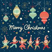 Vintage Merry Christmas card in vector. Funny Elves dancing under the snowfall. Cute holiday background with retro toys