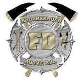 Silver and Gold Maltese Cross Fire Department Emblem