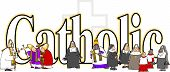 image of priest  - This illustration depicts the word Catholic surrounded by priests - JPG