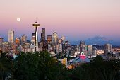 foto of blue moon  - Seattle skyline at dusk - JPG